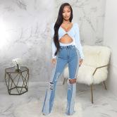 Wholesale Women's Clothing Nihaostyles Stitching Washed Denim Stretch Slim Flared Pants NSSF66898