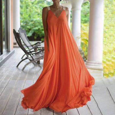 Nihaostyle Clothing Wholesale Summer New V-neck One-piece Dress NSSX66968