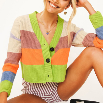 Nihaostyle Clothing Wholesale Autumn And Winter New Hit Color Striped Long-sleeved Short Knitted Cardigan NSSX66987