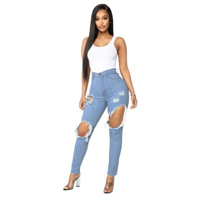 Nihaostyle Clothing Wholesale Fashion All-match Sexy Ripped High Waist Stretch Jeans NSSF66989