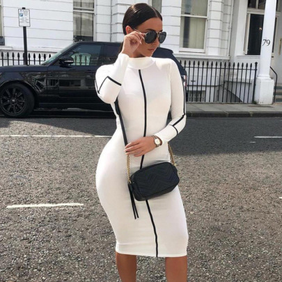 Nihaostyle Clothing Wholesale Summer New Women's Contrast Long-sleeved Dress NSSX66993