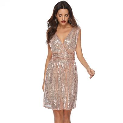 Wholesale Women's Clothing Nihaostyles Sequined V-neck Sleeveless Mid-length Dress NSYSM67003