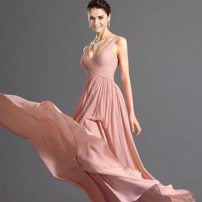 Wholesale Women's Clothing Nihaostyles Deep V Halter Sexy Slim Thin Chiffon Dress NSYSM67004