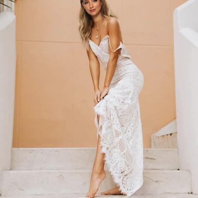 Wholesale Women's Clothing Nihaostyles White Sling Lace Wedding Dress NSYSM67011