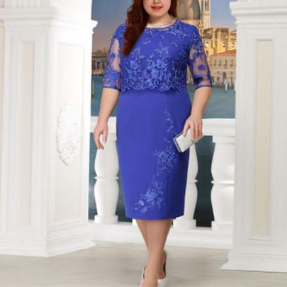 Wholesale Women's Clothing Nihaostyles Lace Stitching Fake Two-piece Plus Size Dress NSYSM67014