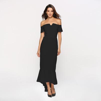 Wholesale Women's Clothing Nihaostyles V-neck Strapless Short-sleeved Tuxedo Dress NSYSM67017