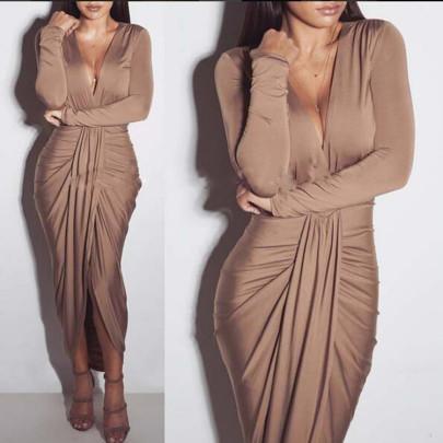 Wholesale Women's Clothing Nihaostyles V-neck Long-sleeved Plus Cotton Sexy Fashion Pleated Nightclub Dress NSYSM67021