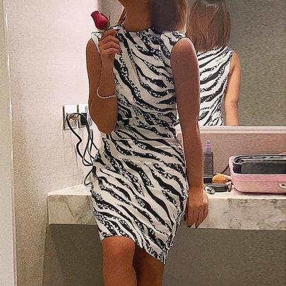 Wholesale Women's Clothing Nihaostyles Sleeveless Zebra Print Tight Dress NSYSM67026