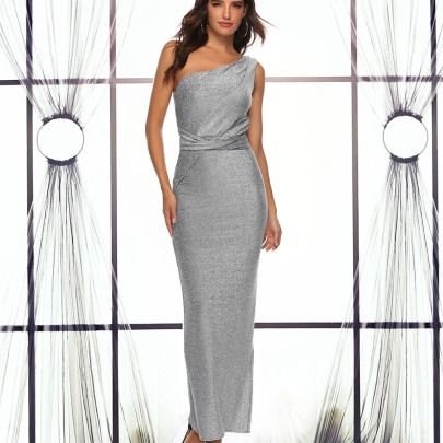 Wholesale Women's Clothing Nihaostyles One-shoulder Bright Silk Elegant Dress NSYSM67031