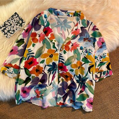 Wholesale Clothing Vendors Nihaostyles Retro Lapel Floral Loose Shirt NSYID67066