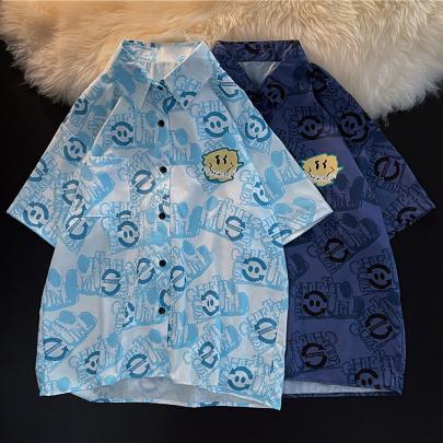 Wholesale Clothing Vendors Nihaostyles Loose Smiley Print Half Sleeve Shirt NSYID67049
