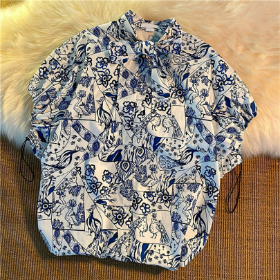 Wholesale Clothing Vendors Nihaostyles Lapel Print Retro All-match Short-sleeved Shirt NSYID67055