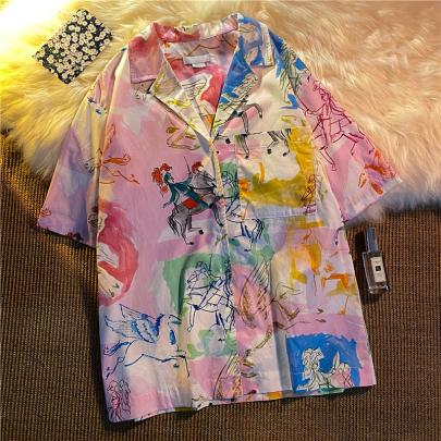 Wholesale Clothing Vendors Nihaostyles Loose Print All-match Short-sleeved Summer Shirt NSYID67057