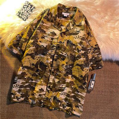 Wholesale Clothing Vendors Nihaostyles Loose Collar Printed Short-sleeved Shirt NSYID67058