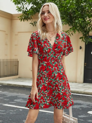 Wholesale Clothing Vendors Nihaostyles New V-neck Short-sleeved Printed Dress NSOUY67079
