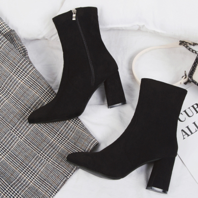 Block-heel Pointed High-heeled Boots With Side Zipper Short Boots Nihaostyles Wholesale Clothing Vendor NSYUS71362