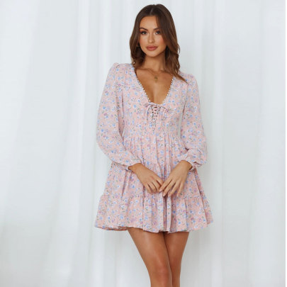Women's Long-sleeved Lace-up Printed Dress Nihaostyles Clothing Wholesale NSJC71352