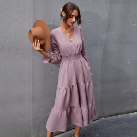 Women's Slim And Thin V-neck Mid-length Dress Nihaostyles Clothing Wholesale NSAL72714