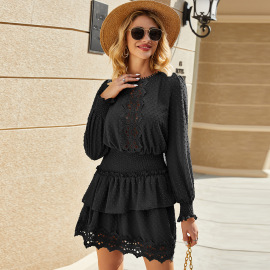 Women's Lace Elastic Waist Jacquard Dress Nihaostyles Clothing Wholesale NSAL72716