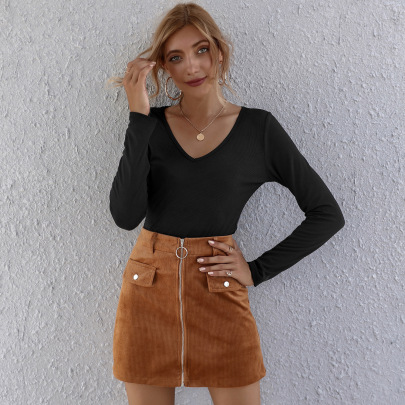Female's Solid Color High Waist Skirt Nihaostyles Clothing Wholesale NSAL72720