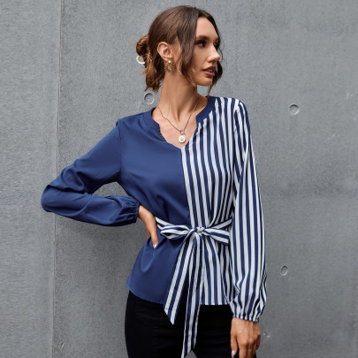 Women's V-neck Splicing Shirt Nihaostyles Clothing Wholesale NSAL72734