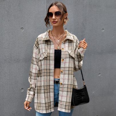 Women's Plaid Long-sleeved Cotton Cardigan Nihaostyles Clothing Wholesale NSAL72747