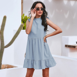 Women's Pure Color Casual Ruffled Waist Dress Nihaostyles Clothing Wholesale NSAL72750