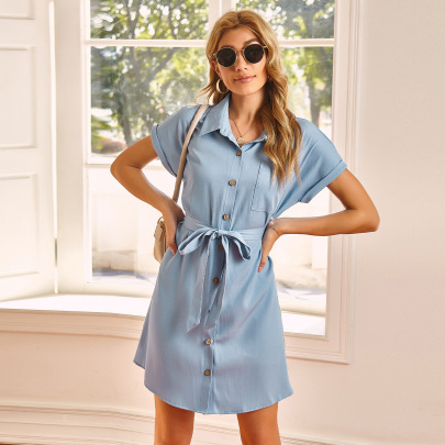 Slim Belt Dress With Belt Nihaostyles Clothing Wholesale NSAL72752
