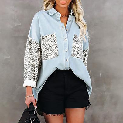 Women's Long-sleeved Pocket Leopard Print Lapel Cardigan Nihaostyles Clothing Wholesale NSZH72768
