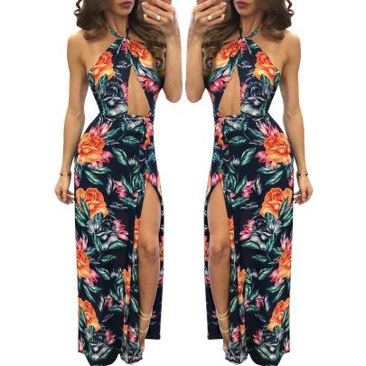 Women's Digital Print Floral Sleeveless Split Dress Nihaostyles Clothing Wholesale NSZH72770