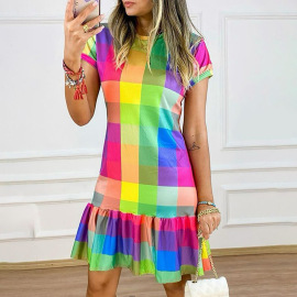 Women's Plaid Contrast Printing Short-sleeved Round Neck Dress Nihaostyles Clothing Wholesale NSZH72773
