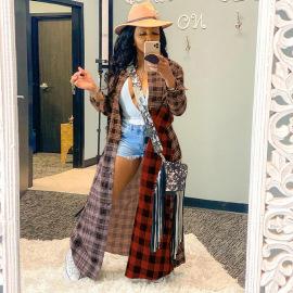 Women's Color Plaid Stitching Long Coat Nihaostyles Clothing Wholesale NSGLS72785
