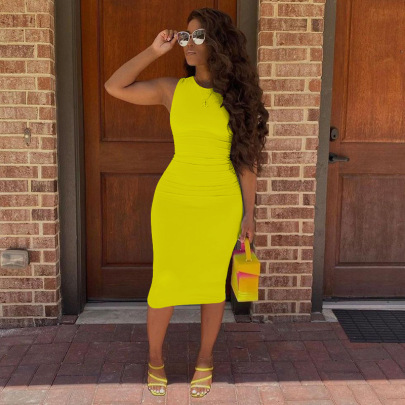 Women's Solid Color Sleeveless Dress Nihaostyles Clothing Wholesale NSGLS72797