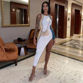 Women's Color Matching Sleeveless Irregular Dress Nihaostyles Clothing Wholesale NSGLS72825