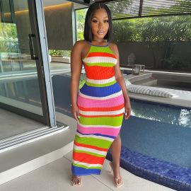 Women's Thread Stripe Dress Nihaostyles Clothing Wholesale NSGLS72831
