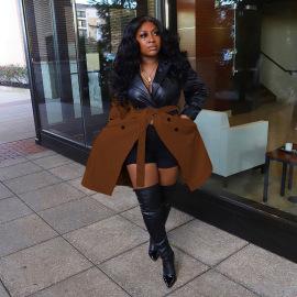 Women's PU Leather Stitching Long Windbreaker Nihaostyles Clothing Wholesale NSGLS72840