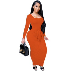 Women's Solid Color Long-sleeved Thread Lace Dress Nihaostyles Clothing Wholesale NSGLS72852