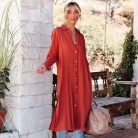 Fashion Lapel Casual Long-sleeved Dress Nihaostyles Wholesale Clothing Vendor NSXIA73188