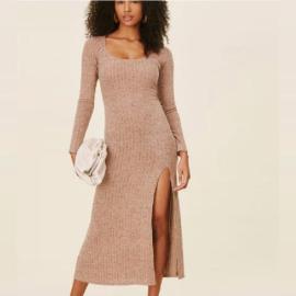Sexy Split Knit Long-sleeved Dress Nihaostyles Wholesale Clothing Vendor NSXIA73186