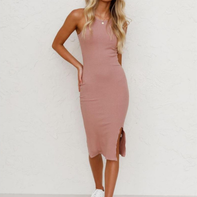 Women's Knitted Solid Color Split Dress Nihaostyles Clothing Wholesale NSXIA73771