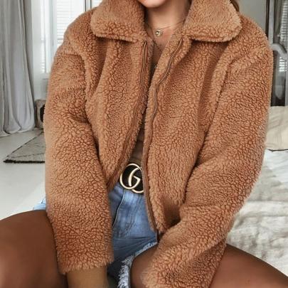 Women's Solid Color Warm Velvet Jacket Nihaostyles Clothing Wholesale NSXIA73792