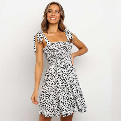 New Spotted Print Short Dress Nihaostyles Wholesale Clothing Vendor NSXIA74963