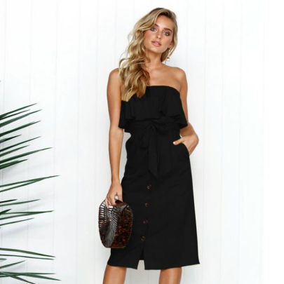 Sexy Open Back Solid Color Ruffle Dress Nihaostyles Wholesale Clothing Vendor NSXIA73191