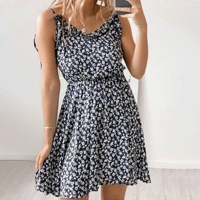 Sling Print Halter Sleeveless Dress Nihaostyles Wholesale Clothing Vendor NSYIS73174