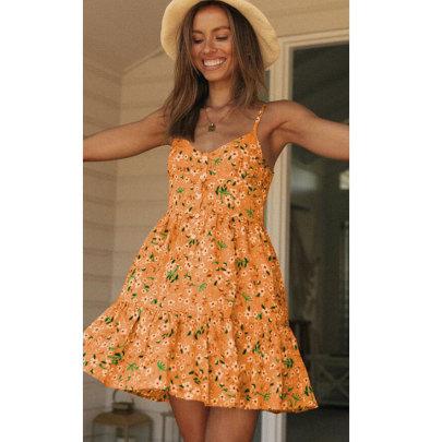Women's V-neck Backless Ruffle Print Suspender Dress Nihaostyles Clothing Wholesale NSJIM73184