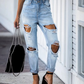 Fashion Hole Loose Waist Jeans Nihaostyles Wholesale Clothing Vendor NSYF73033