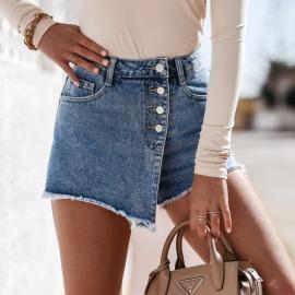 Fashion Front Button Denim Shorts Nihaostyles Wholesale Clothing Vendor NSYF73036