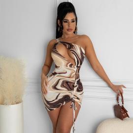 Women's Hollow Crease Printing Dress Nihaostyles Clothing Wholesale NSLJ73037