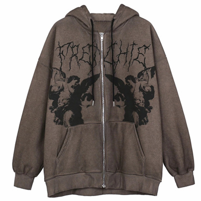 Hooded Loose Street Zipper Sports Jacket Nihaostyles Wholesale Clothing Vendor NSXPF73038