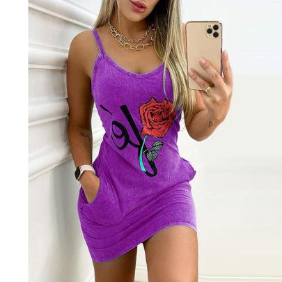 Printed Pocket Slim Suspender Dress Nihaostyles Wholesale Clothing Vendor NSXPF73069